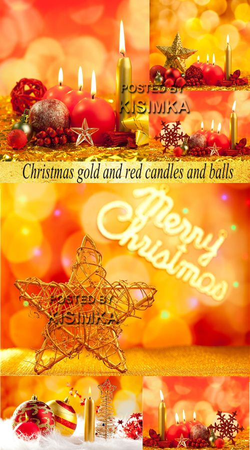 Stock Photo: Christmas gold and red candles and balls