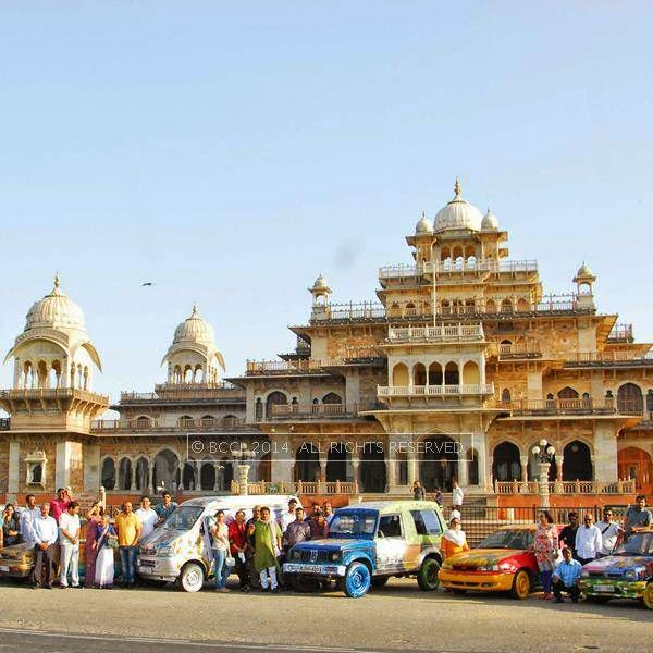 All the artists posing with their colourful cars in front of the Albert Hall museum during a car rally at Rang Malhar, organised by the Lalit Kala Akademi, held in Jaipur.