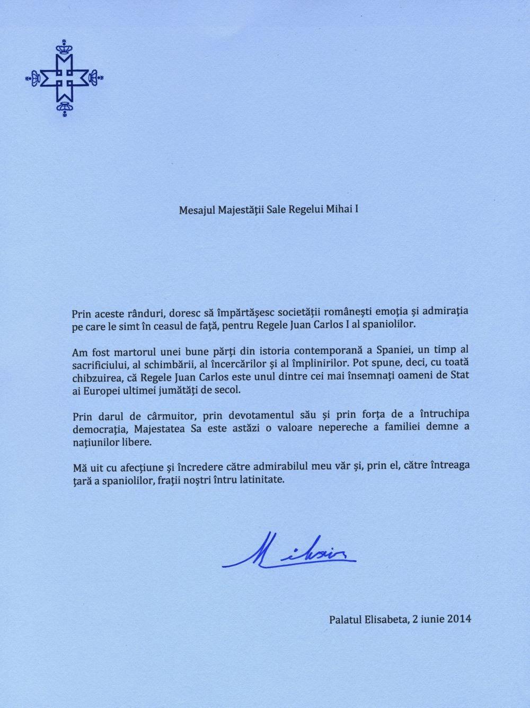 Mesajul Regelui Mihai la decizia Regelui Juan Carlos I al spaniolilor de a renunța la tron