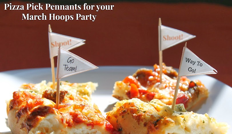 Pizza Party Ideas: Pizza Pick Pennants for Your March Hoops Party #NewFavorites #shop