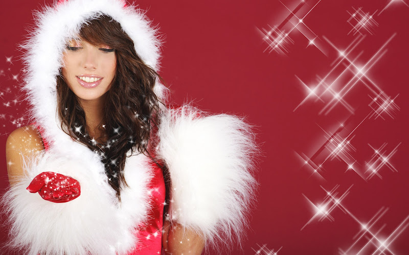 Sfondi di Natale con bellissime ragazze