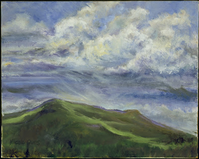 "CLOUD RACEoil on linen, 16"" x 20""Identical clouds race to a finish line over Hood Mountain. Does the loser or winner thunder?"