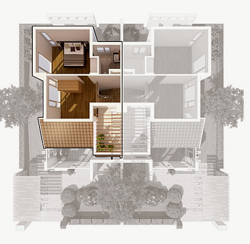 Biệt thự song lập Ecopark - mặt bằng tầng 2.5