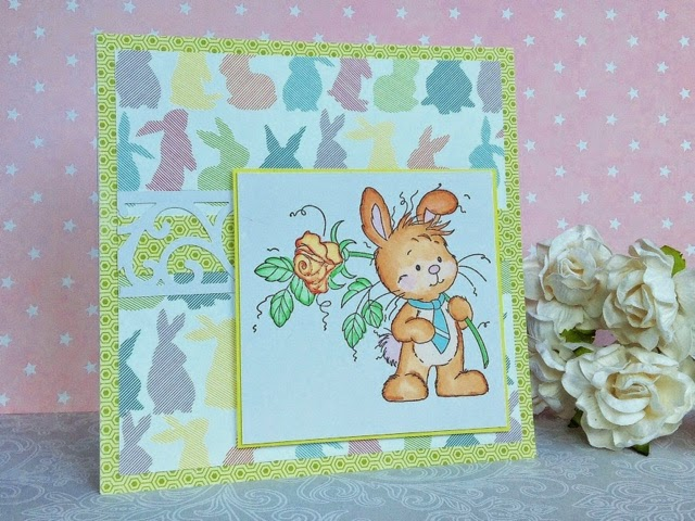 Easter scrapbooking card with bunny