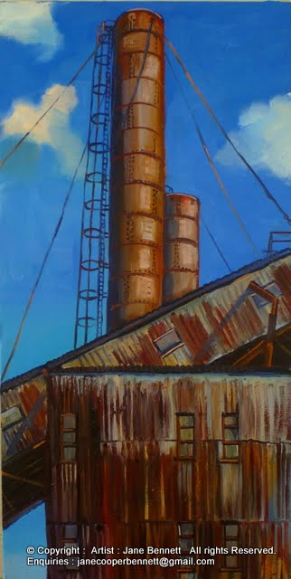 Industrial Heritage and urban decay - Plein air oil painting of the White Bay Power Station by artist Jane Bennett