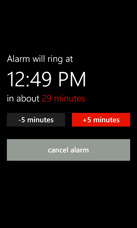 Lightning Nap alarm set