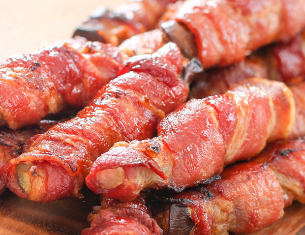 close-up photo of bacon-wrapped eggplant fries
