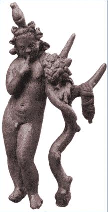 Sizilien - Solunto - Bronzefigur des Kindgottes Harpokrates.