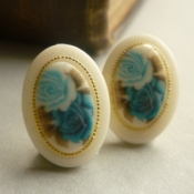 Technicolour blue rose earrings