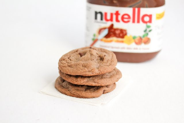 photo of a stack of three Chewy Nutella Cookies