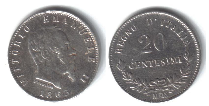 Mi colección de monedas italianas. 20%20centesimi%201863%20M