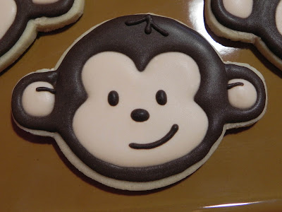 mod monkey boy girl first birthday party sugar cookie royal icing frosting