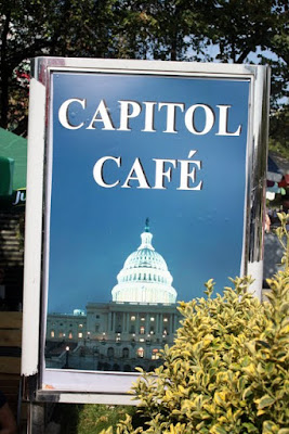 Sign for the Capitol Cafe in Pristina Kosovo