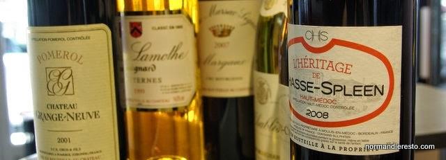 Les vins � la Brasserie des Halles au Havre