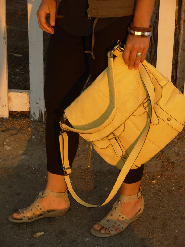 yellow satchel green vest