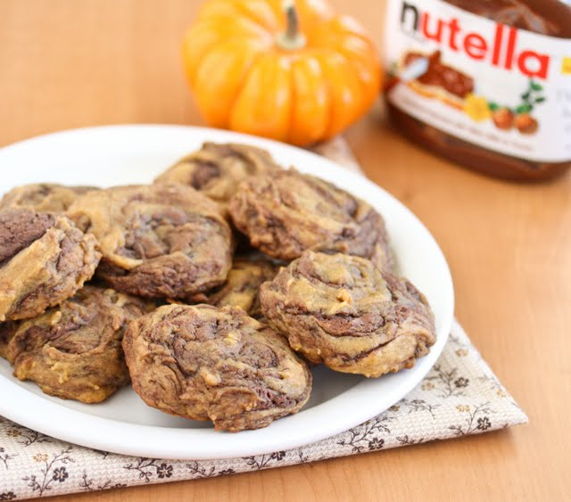 photo of a plate of Pumpkin Nutella Swirl Cookies