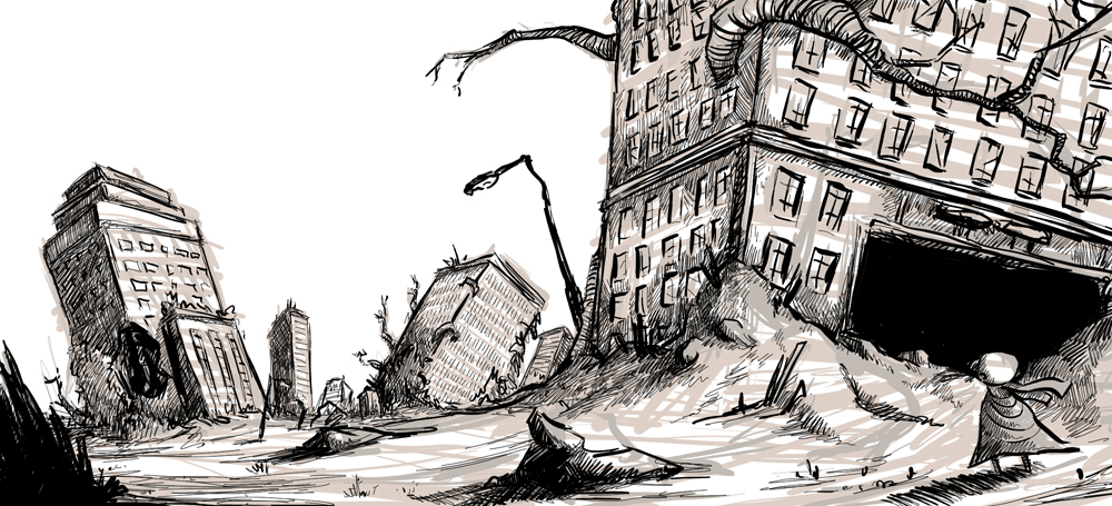 Ruined City Drawing Ru...