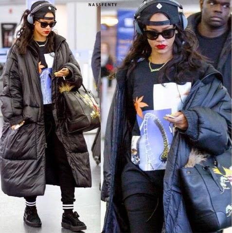 Rihanna arrived back in New York in Raf Simons