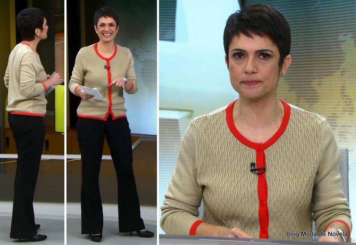 moda do programa Jornal Hoje - look da Sandra Annenberg dia 14 de julho