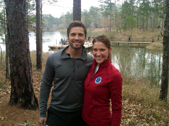 Tricia Helfer and Eric Winter on set of Scent of the Missing