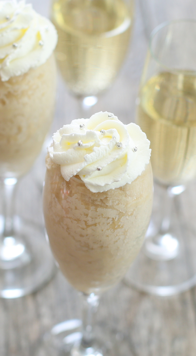 close-up photo of a champagne mug cake