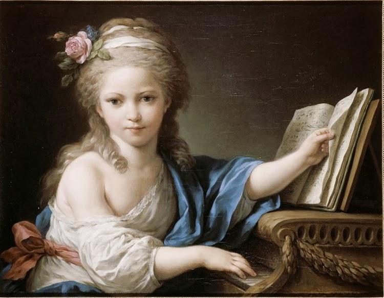 Louis-Jean-François Lagrenée - Portrait présumé de Joséphine, fille de Bergeret de Grancourt, touchant le piano-forte