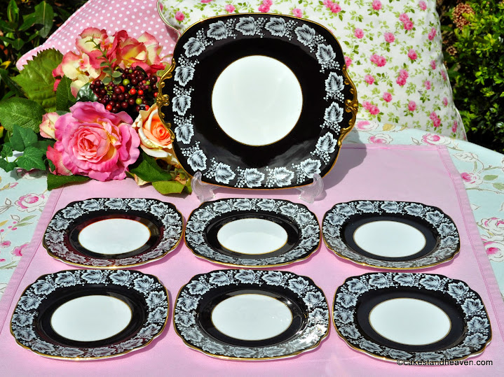 Windsor vintage cake plate and tea plates with black glaze