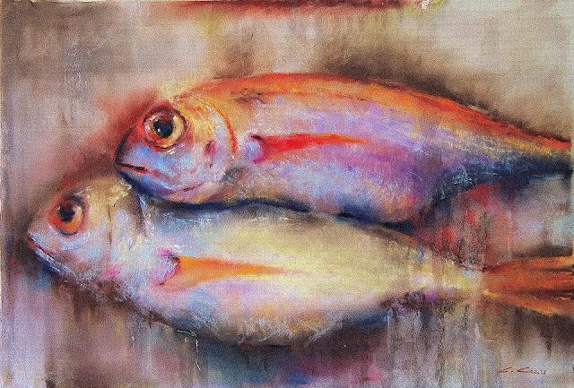 dos peces, pintura al pastel de Carlos Casu