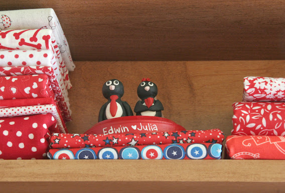 Penguin Cake Topper Fabric Red