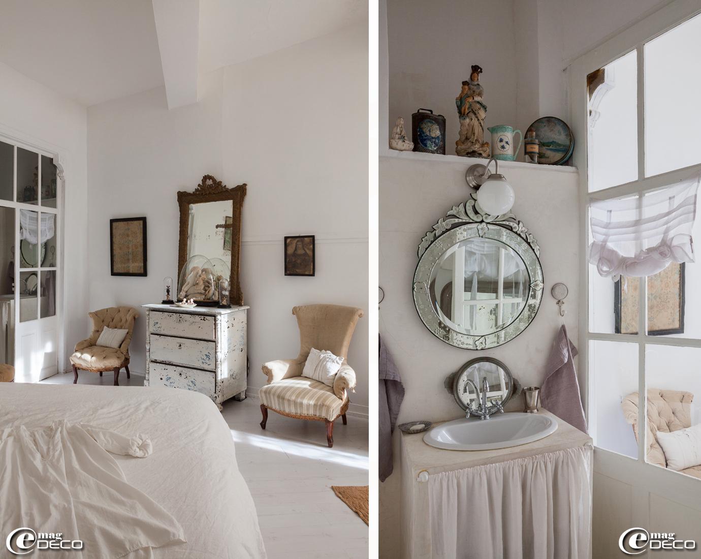 Miroir vénitien et serviettes en lin, boutique 'Clair de Lune' à Uzès, vasque 'Leroy Merlin' sur console en béton ciré