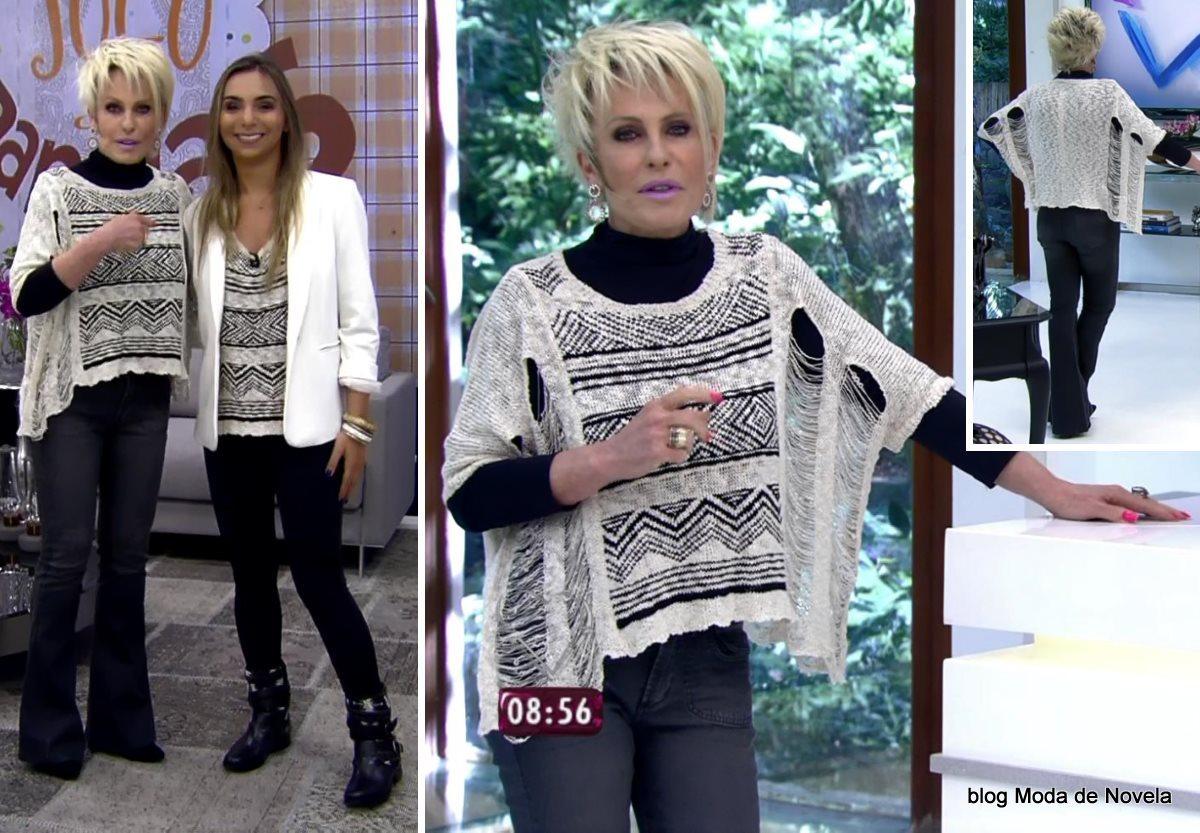 moda do programa Mais Você - look par-de-vasos da Ana Maria Braga dia 29 de julho