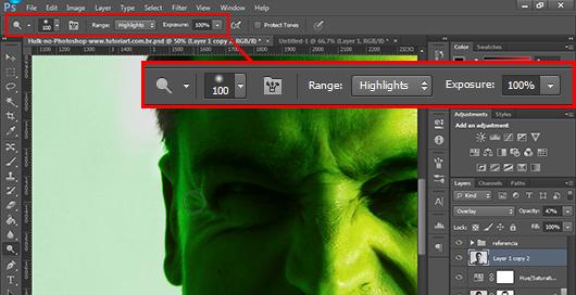 Usando a ferramenta Subexposição (Dodge) para clarear partes já luminosas - repare o modo Highlights ativo