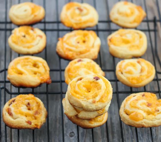 photo of Bacon Cheddar Pinwheels on a baking rack