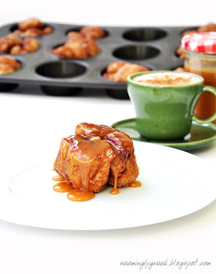 monkey bread photo Monkey Bread Muffins with Homemade Caramel Sauce