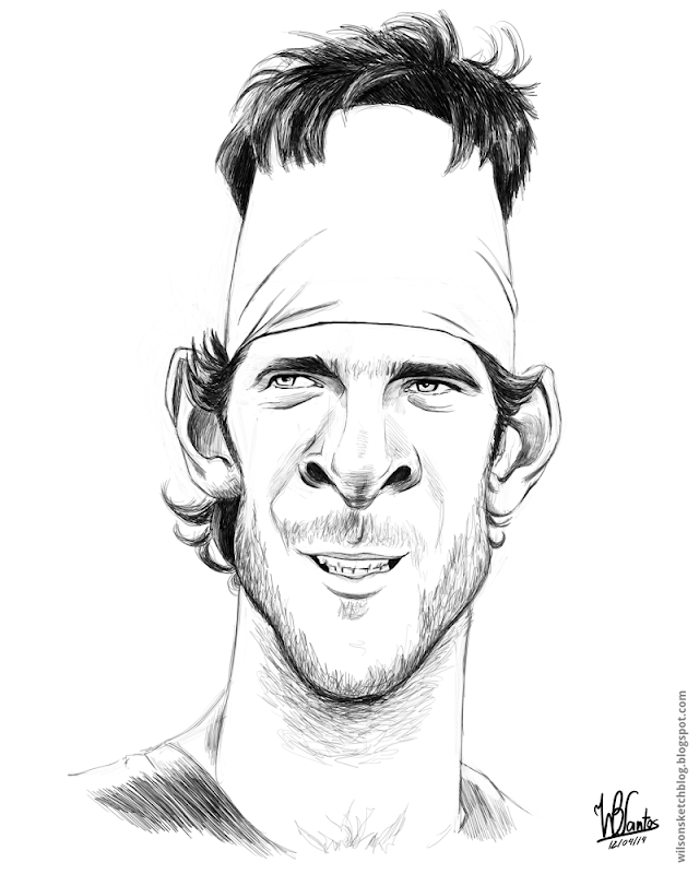 Sketch caricature of Del Potro, using Krita.