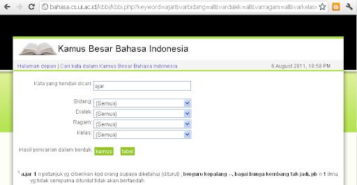 Situs Kamus Besar bahasa Indonesia di Universitas Indonesia