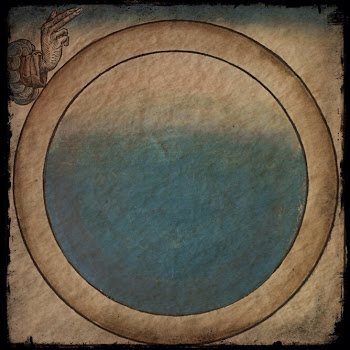 Color print of the first day of creation, a blue circle