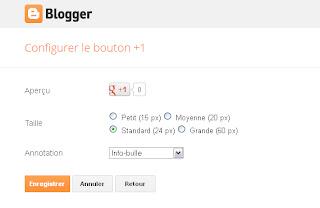 Panneau de configuration du gadget Bouton Google  +1