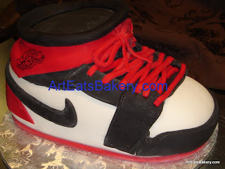 3D Nike Air Jordan red, white and black fondant custom birthday cake design