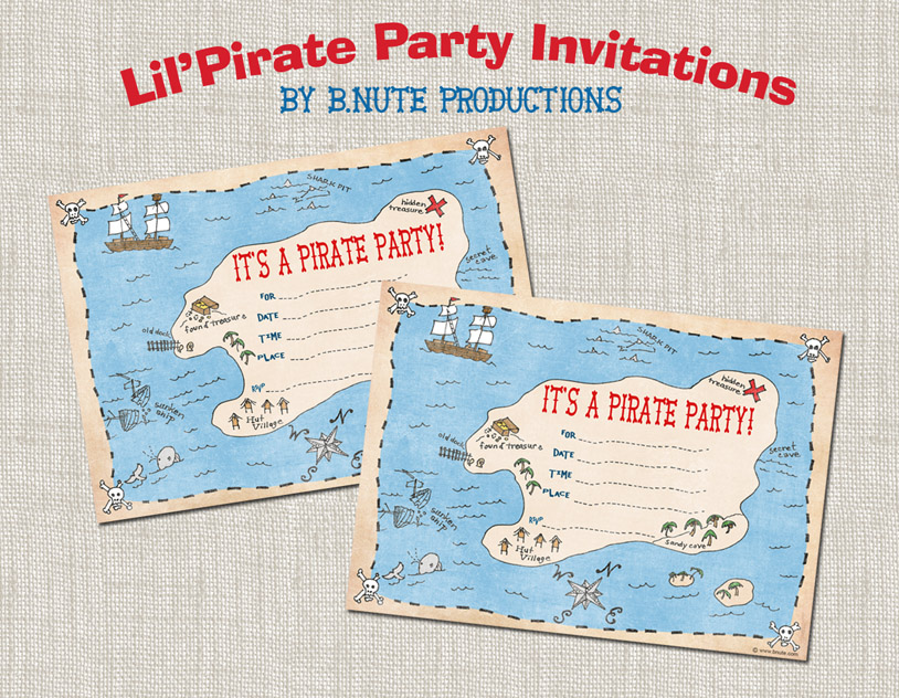 bnute productions Free Printable Pirate Party Invitations – Kids Pirate Party Invitations