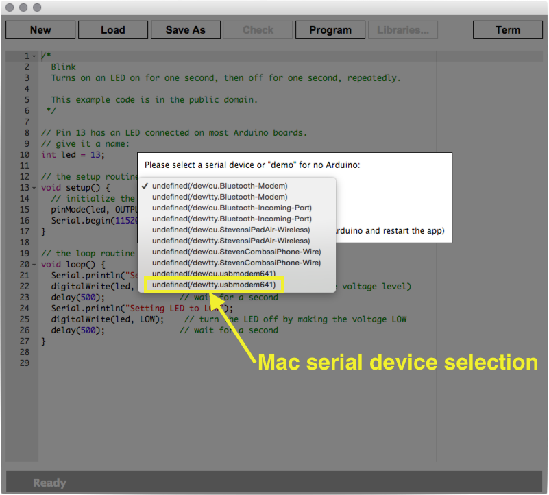 Serial connection selection on Mac