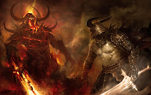 fantasy fire demons helmet horns weapons armor artwork warriors swords 2560x1600 wallpaper
