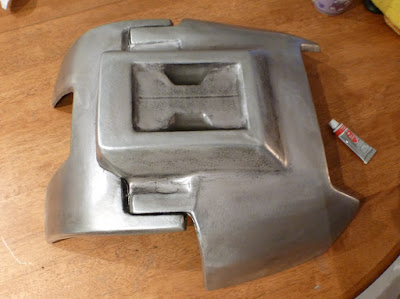 Legacy Mandalorian Backplate - Pewter finish, just needs more polishing, going for a quasi Jango look