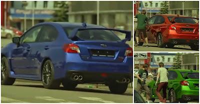 A Reacção Das Pessoas Quando Vêem Este Brutal Subaru WRX STI 2015 Mudar De Cor Instantaneamente!