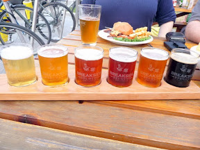 A sampler tray of beer at Breakside Brewery