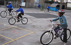 Bikeability training in progress in playground, Level 1 games