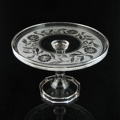 Stippled Dahlia Pedestal Cake Stand Canton Glass 1880's