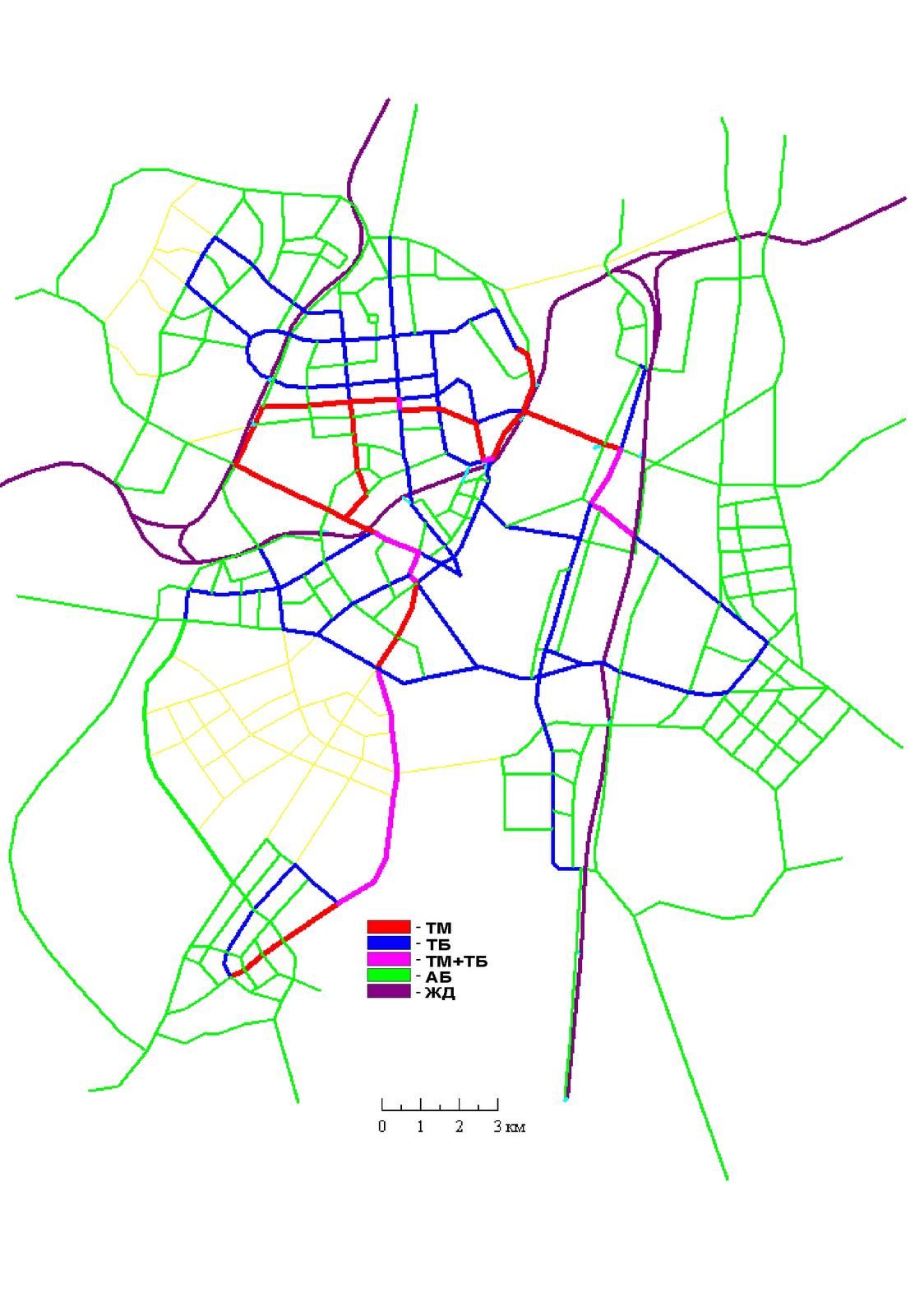 17. Вариант II. Развитие сети ГПТ с использованием существующей железной дроги и наземных видов транспорта