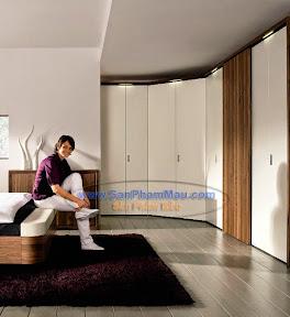 Hệ thống tủ quần áo gỗ màu trắng