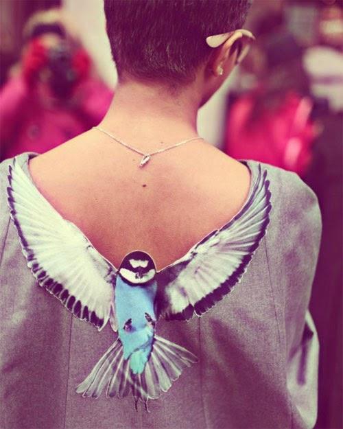 Inspiração de DIY pássaro nas costas da blusa